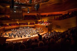 Orkestret sidder klar til koncert.